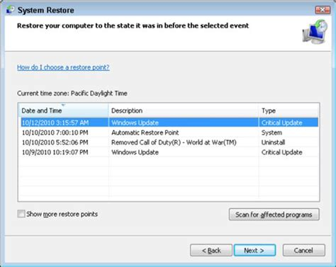 restore windows xp to previous date how to restore your system to an earlier point dummies