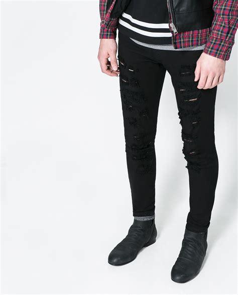Ripped Zara Zara Ripped In Black For Lyst