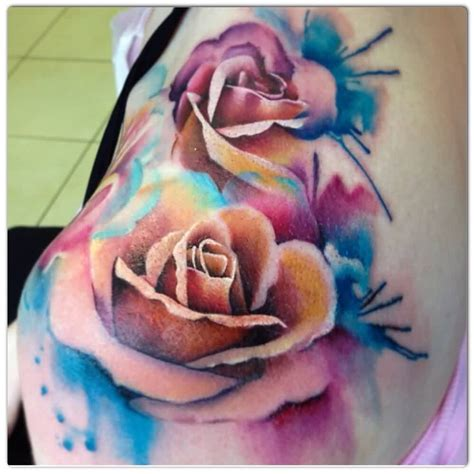 rose color tattoo 46 beautiful watercolor tattoos