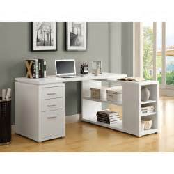 Furniture white desk with drawers and shelves for house and office equipment founded project