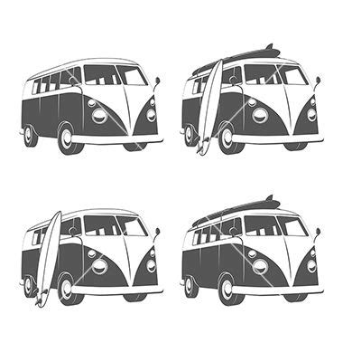 volkswagen with surfboard clipart vintage cer with surfboards vector by