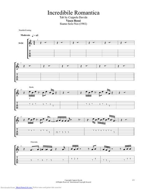 incredibile romantica vasco incredibile romantica guitar pro tab by vasco