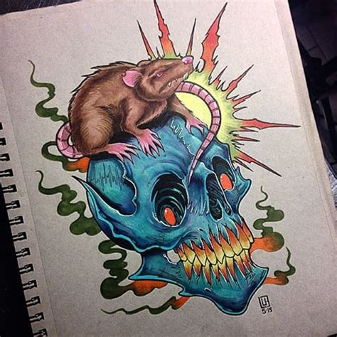 new school mouse tattoo new school skull and mouse with shining sun tattoo design