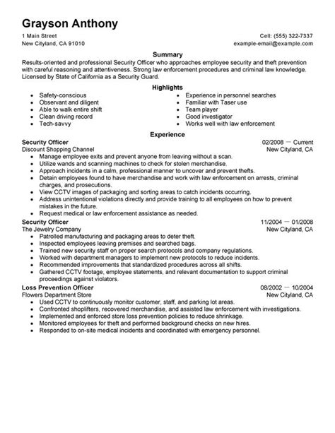 resume format for security field officer security officers resume exles free to try today myperfectresume