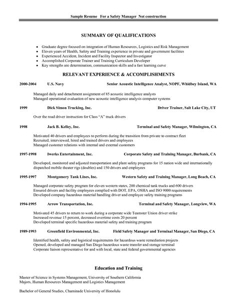best photos of safety professional resume exles safety manager resume sles safety