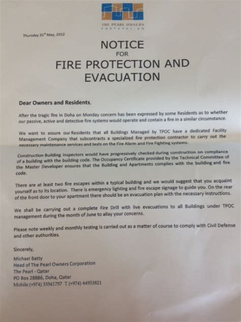 Pearl Fire Rattles Residents Raises Concerns About Qatar S Emergency Response Preparedness Alarm Testing Notice Template