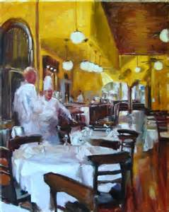 discussing tonight s menu chef restaurant original painting by artist robin cheers