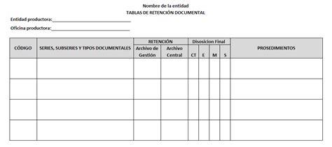 tabla de retencion documental 2016 formato ejemplo de tablas de retenci 243 n documental