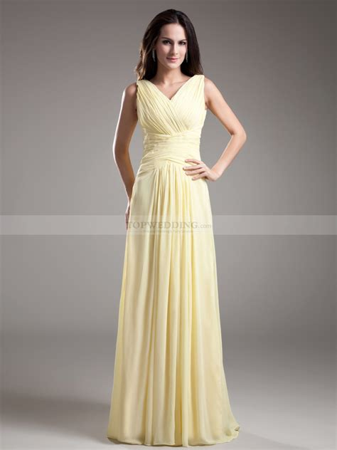 Floor Length Bridesmaid Dresses by Simple Sleeveless V Neck Ruched Chiffon Floor Length Bridesmaid Dress