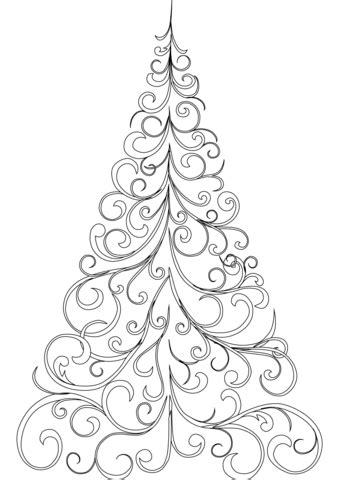 Swirly Christmas Tree coloring page | Free Printable