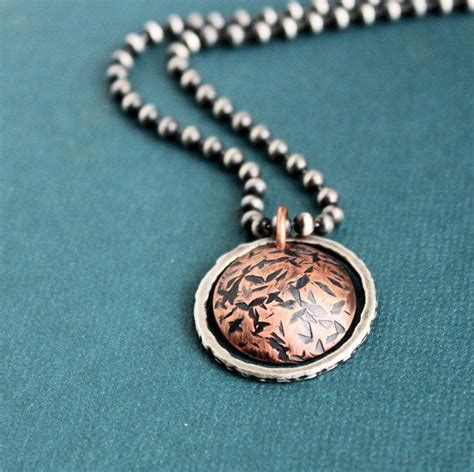 mens pendant necklace silver chain reversible rustic