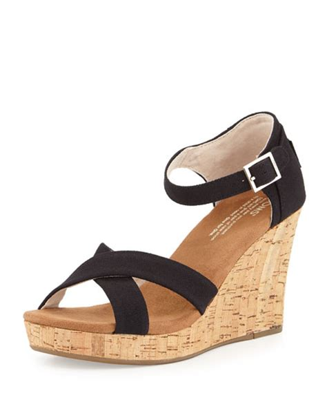 toms strappy wedge sandal toms strappy canvas wedge sandal black neiman