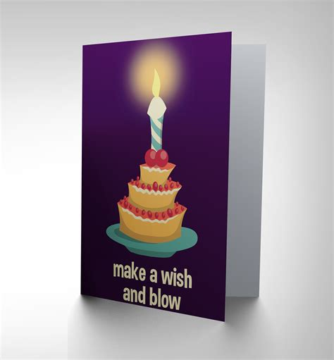 Wish Gift Cards - card happy birthday adult cake candle make wish gift cp2461 ebay
