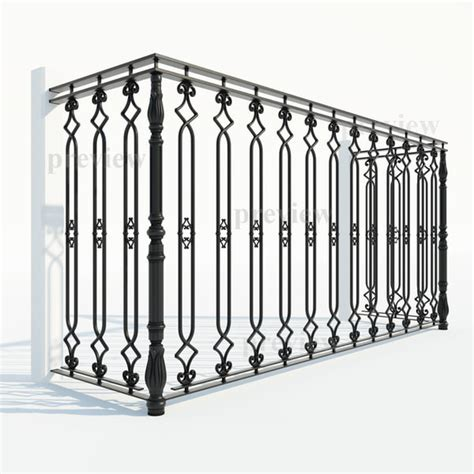 iron fence sections 3d model cast iron fence section