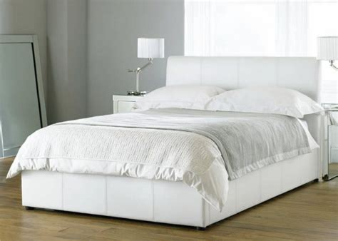 White Kingsize Bed Frame Bali White Kingsize Ottoman Faux Leather Bed Frame Ottoman