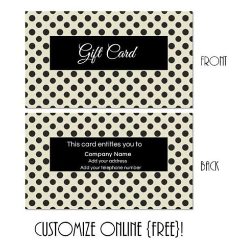 gift card to anywhere template gift card template