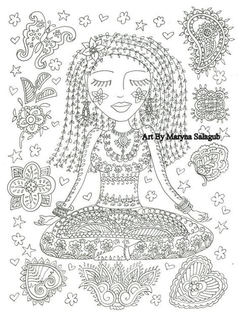 coloring page yoga girl instant  adult clip art