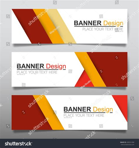 horizontal layout web design collection red yellow horizontal business banner stock