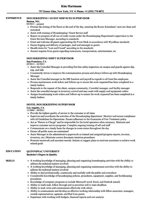 resume format for housekeeping supervisor awesome download
