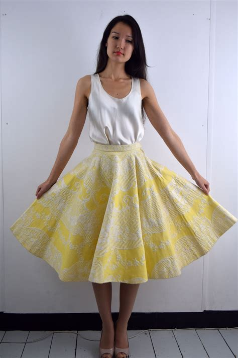 yellow patterned skirt miniola vintage 1950s circle skirt in yellow with great