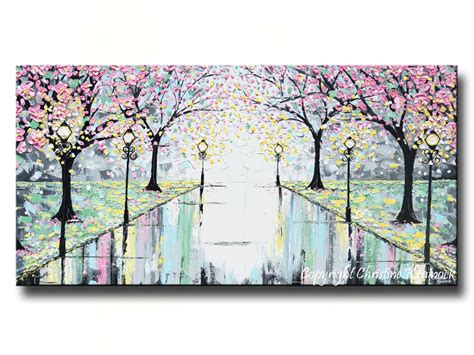 Home Decor Yellow And Gray by Giclee Print Abstract Art Painting Pink Cherry Trees