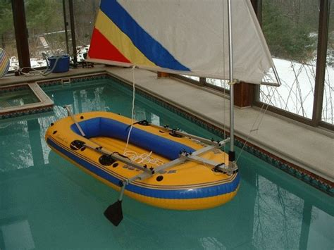 homemade sail for inflatable boat design and cheap build of easy sail rig for sevylor 360