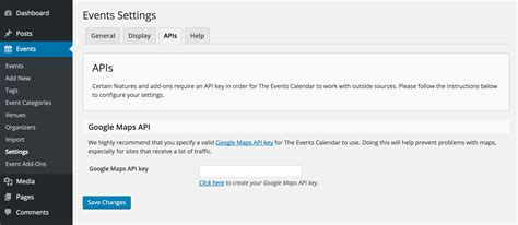 setting google maps api key calendar