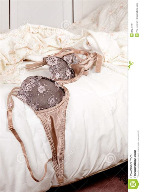 on bed luxury bra on bed stock images image 24378744