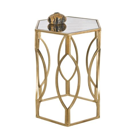 Gold Mirrored Side Table by Worlds Away Morroco Hexagonal Side Table In Gold Leaf With