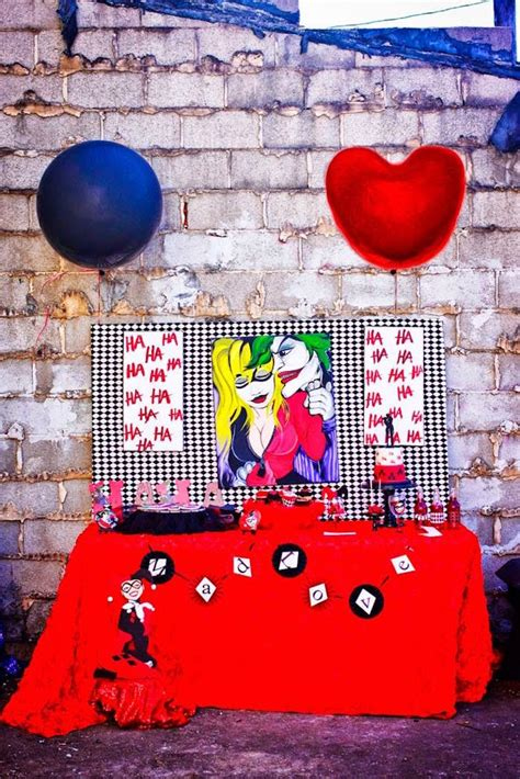 harley quinn themed birthday party harley quinn inspired dessert table from a joker inspired