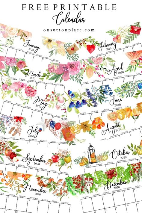 floral  printable calendar  sutton place