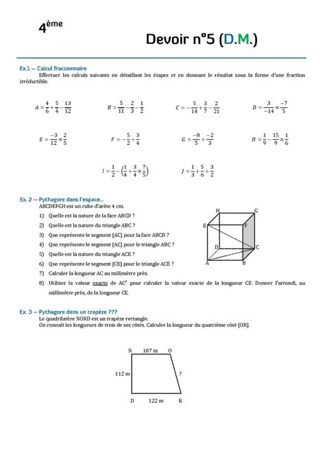 contr 244 les de math 233 matiques en quatri 232 me 4 232 me et devoirs
