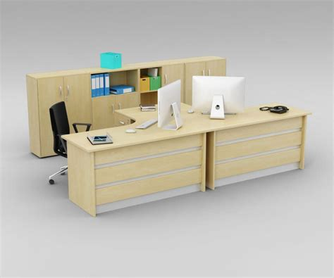 two person office desk with matching cabinets 3d model
