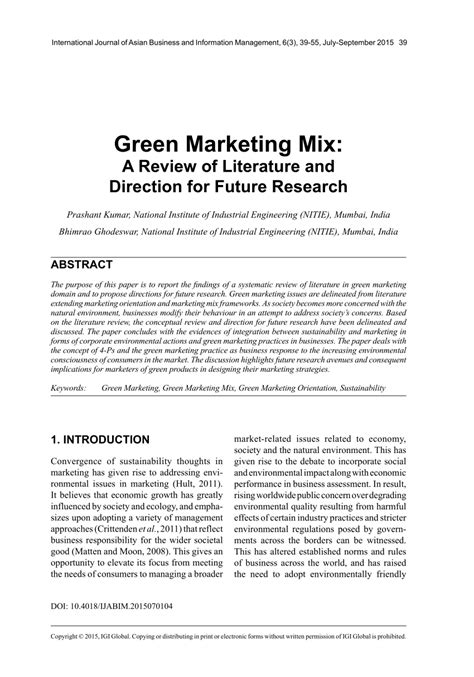 marketing mix research paper green marketing mix a review of literature and direction