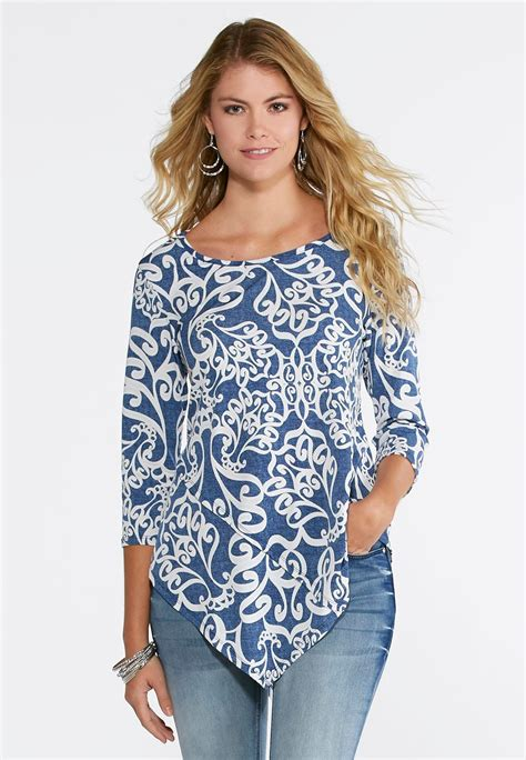 Swily Top swirl pointed front top tees knit tops cato fashions