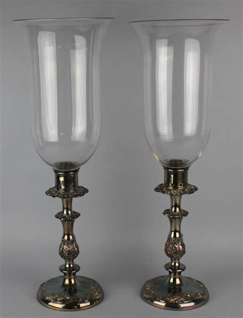 Candlestick L Shades by Pair Of Silverplated Candlesticks With Glass Shades