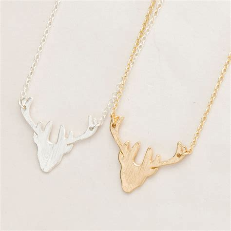 Handmade Gold Necklace - stag silhouette deer shaped animal charm antler