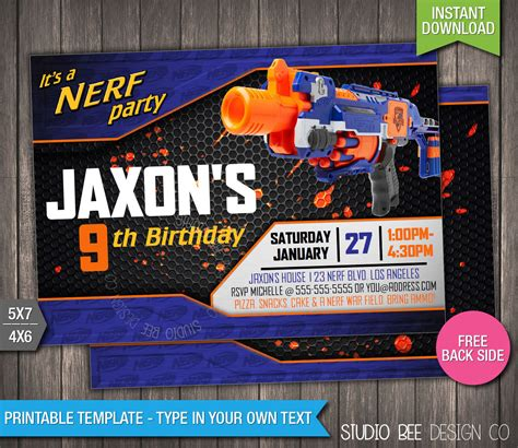 Sale 85 Off Nerf Invitation Instant By Studiobeedesignco Nerf Invitation Template Free