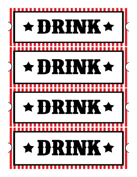 Drink Ticket Template Sweet Daisy Designs Free Printables Home Movie Theatre Night
