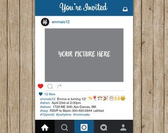 Instagram Party Etsy Instagram Invitation Template