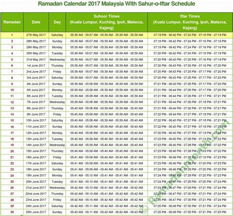 Calendar 2018 Islam Malaysia Ramadan 2017 Malaysia Calendar With Prayers Time Table
