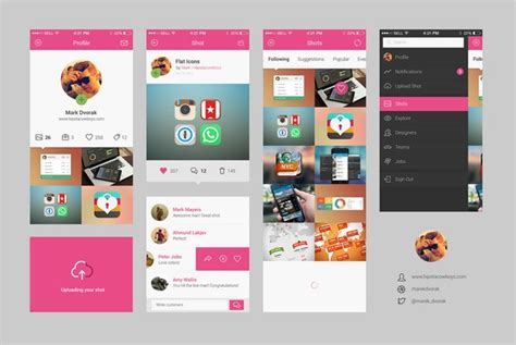app design kit 34 free flat photoshop psd ui kits