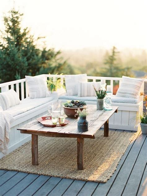 i love this deck furniture layout so cozy outside home ideas when and how to use a corner bench in your home