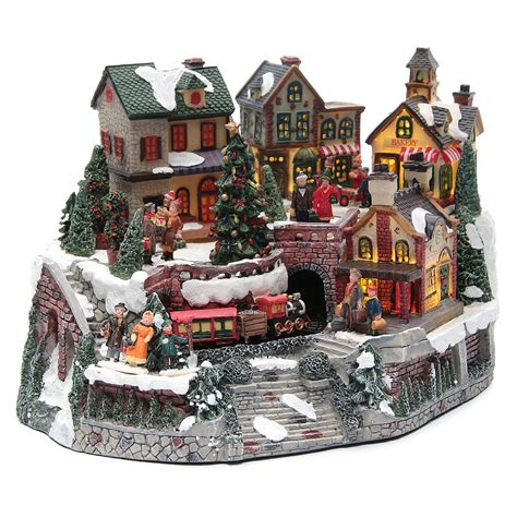 animated christmas village with train animated with 35x25x20 cm sales on holyart co uk
