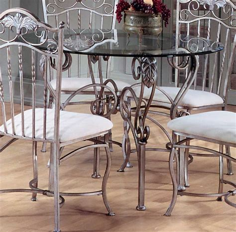 Rod Iron Bakers Rack Hillsdale Bordeaux Round Dining Table With Glass Top 40363
