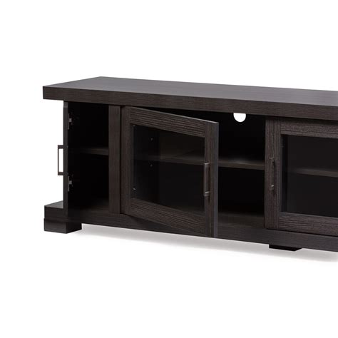 wood tv cabinet with doors baxton studio viveka 70 inch dark brown wood tv cabinet