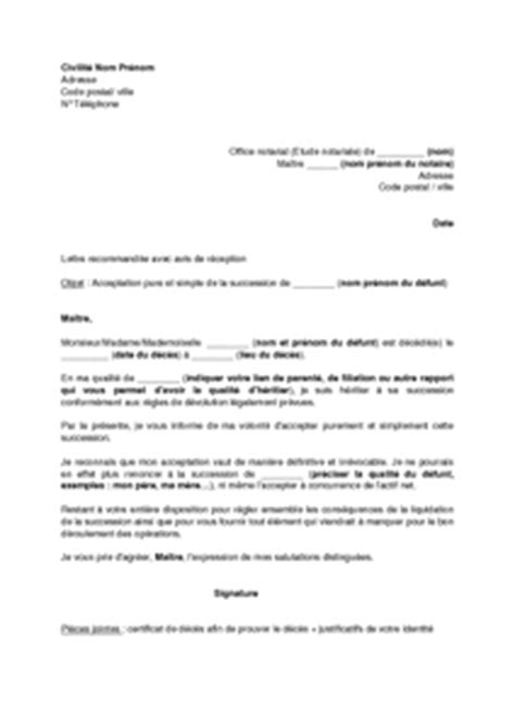 Modeles De Lettre Testament Lettre D Acceptation Et Simple D Une Succession Mod 232 Le De Lettre Gratuit Exemple De