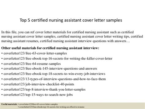 certified nursing assistant cover letter exles top 5 certified nursing assistant cover letter sles