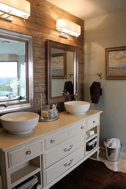 wood accent wall bathroom rustic plank wall in bathroom for the home pinterest