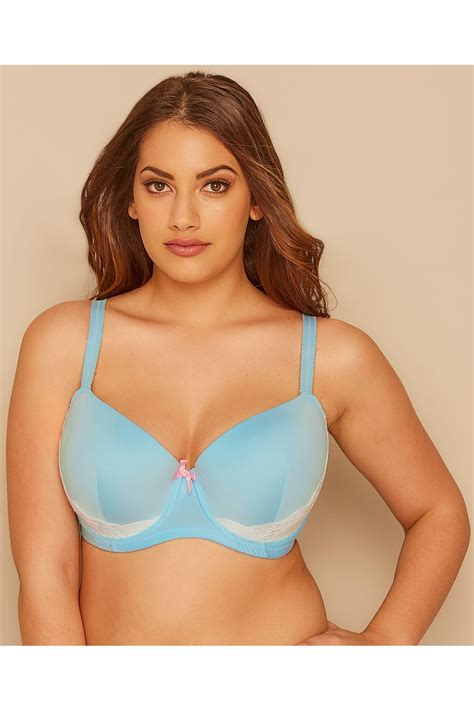 blue underwired bra with contrast black lace trim